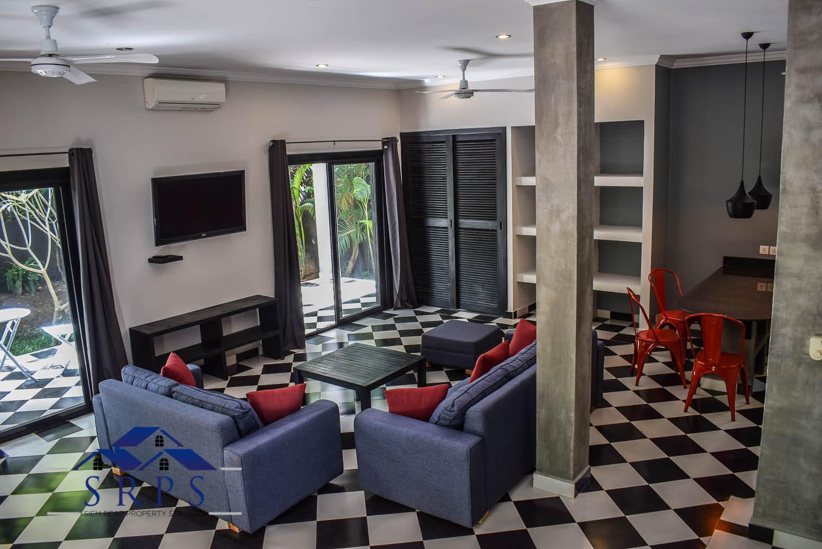 Beautiful fully-furnished 2 bedroom villa with pool for rent-Sangkat Slorkram